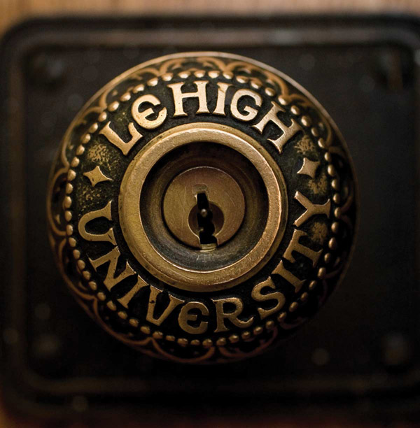 A photo of an ornately-designed Lehigh doorknob.